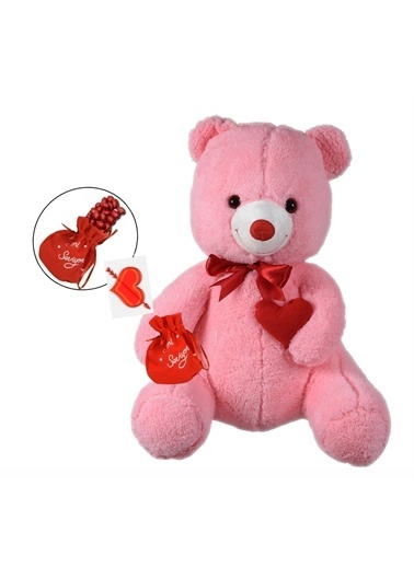 Sole Sevgiliye Özel, Kalp Tutan, Elinde BADEM Şekeri KESESİ ile Peluş Ayıcık-80 cm Renkli